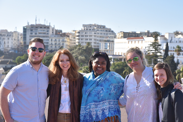 Director of Graduate Education Dr. Diane Al Shihabi (second from left) with students in Tangier.