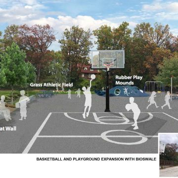 Basketball play area designed by Iowa State University landscape architecture students for Houston Elementary School in Philadelphia.