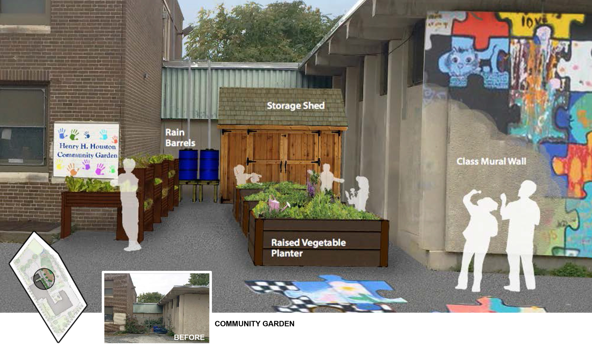 Iowa State University landscape architecture students' design for a community garden at Houston Elementary in Philadelphia.