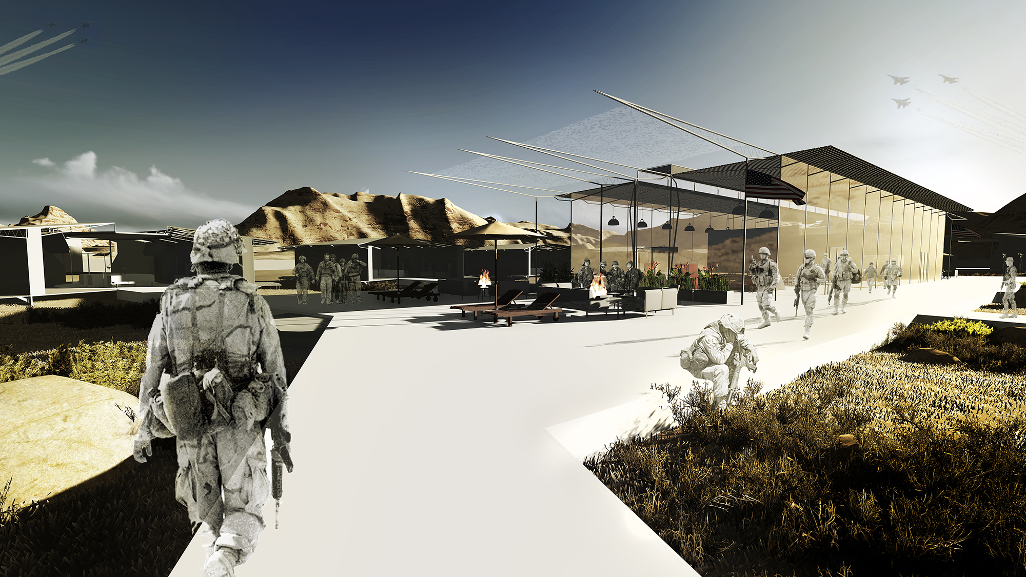 An experimental concept and proposal for a military combat outpost located in Delaram, Afghanistan