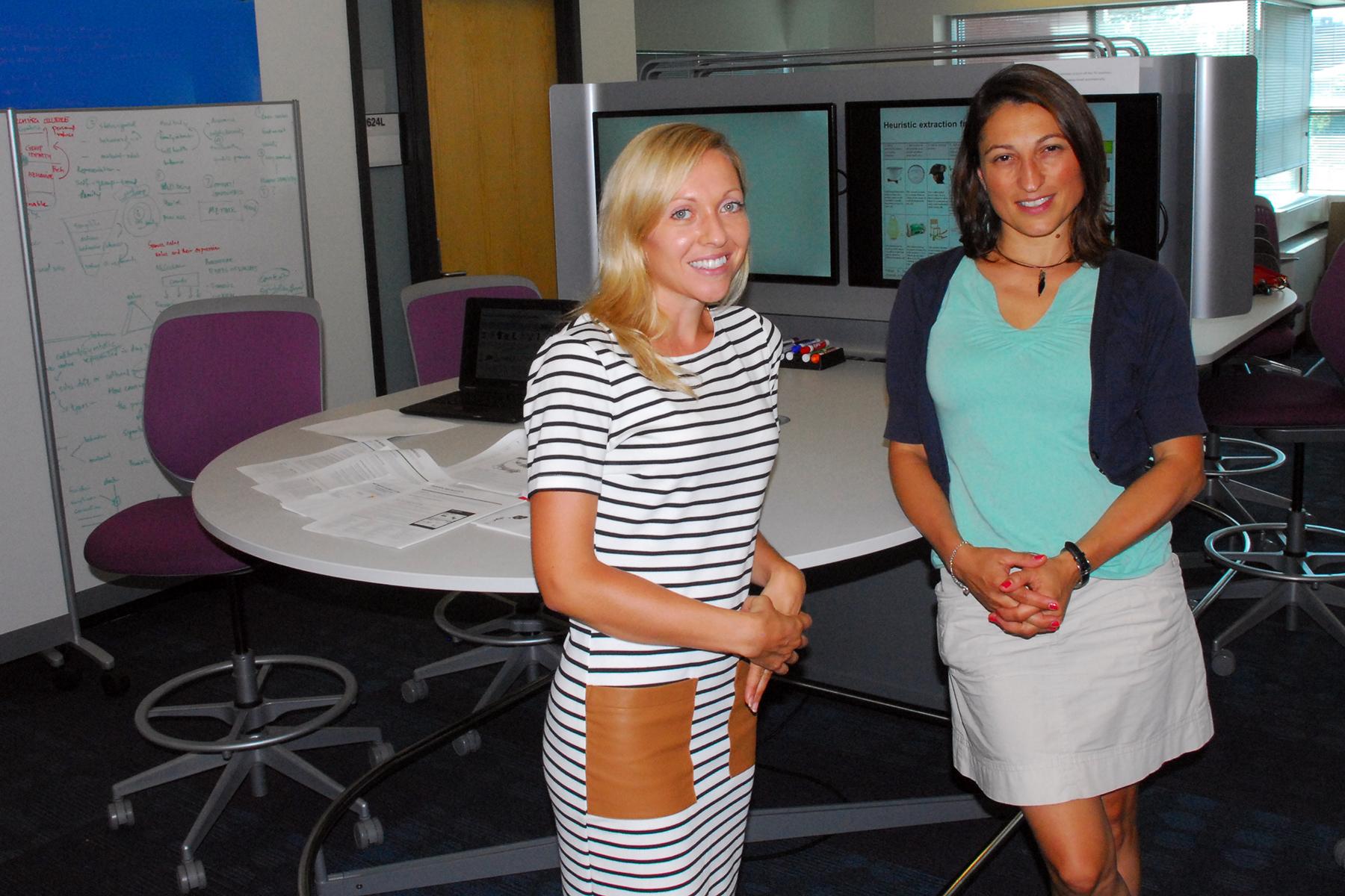 Iowa State industrial design Postdoctoral Research Associate Keelin Leahy, left, and Associate Professor Seda McKilligan