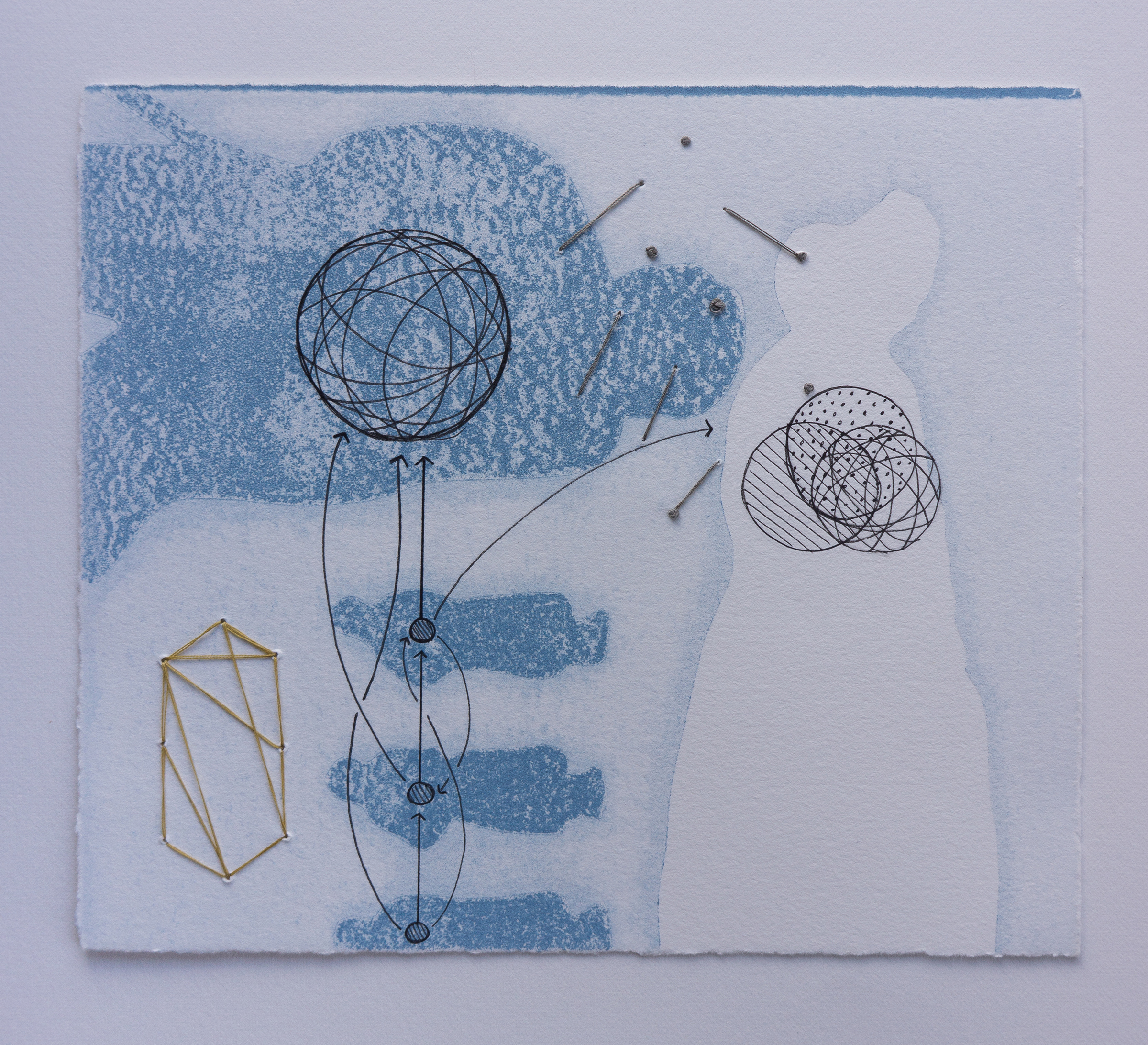 """Familiar Geometry"" (rag paper, ink, pen, thread, monoprint, drawing, embroidery, 6"" x 7"", 2016) by Catherine Reinhart and Allison Metzger. Photo by Catherine Reinhart."