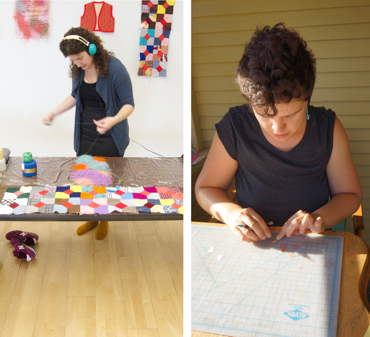Artists Catherine Reinhart, left, and Allison Metzger in their studios.