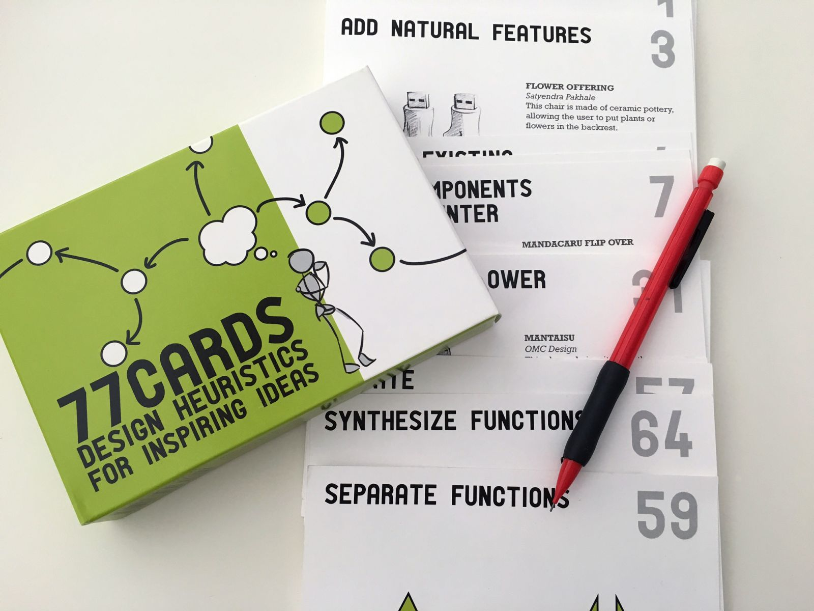 "McKilligan and colleagues developed a set of 77 flash cards featuring different design heuristics—or ""cognitive prompts—that encourage exploration of a variety of solutions during the ideation process."