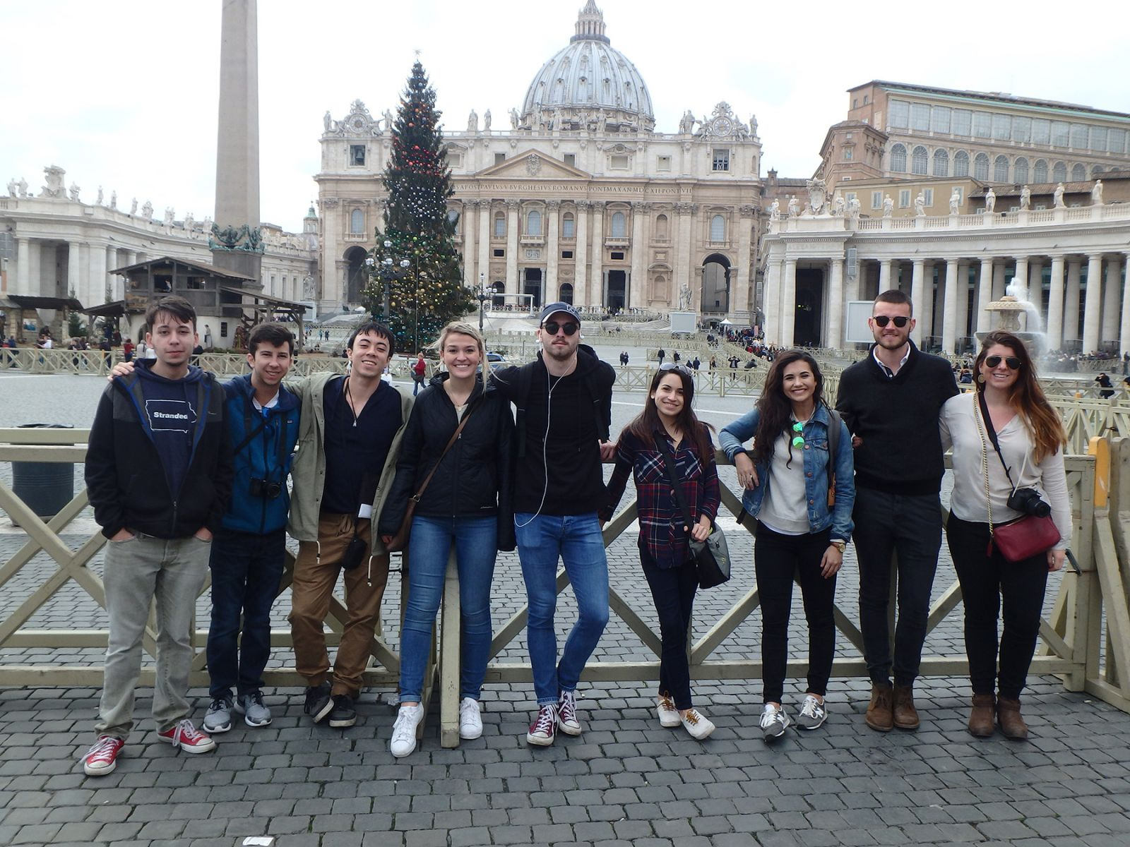 Landscape architecture students visit Piazza San Pietro in front of St. Peter's Basilica in Vatican City.