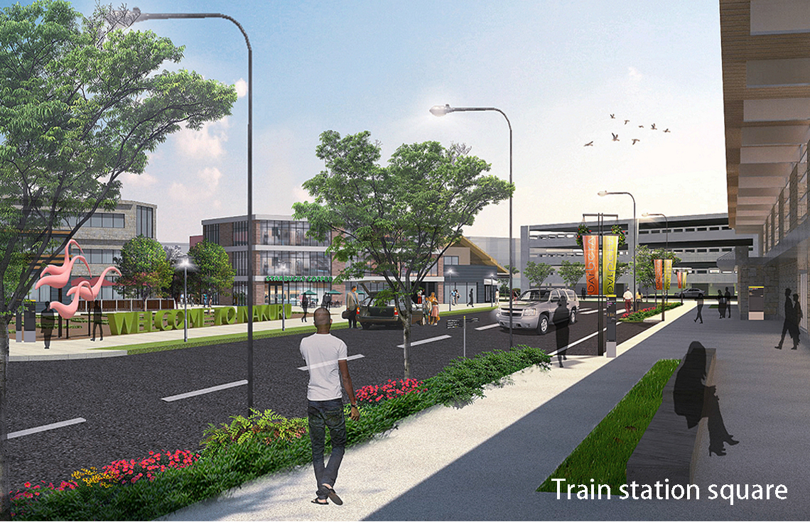 A proposed new train station square provides a more welcoming, pedestrian-friendly entrance to the city's central business district.
