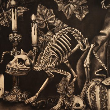 Charcoal drawing Halloween still life by Rachel Boose
