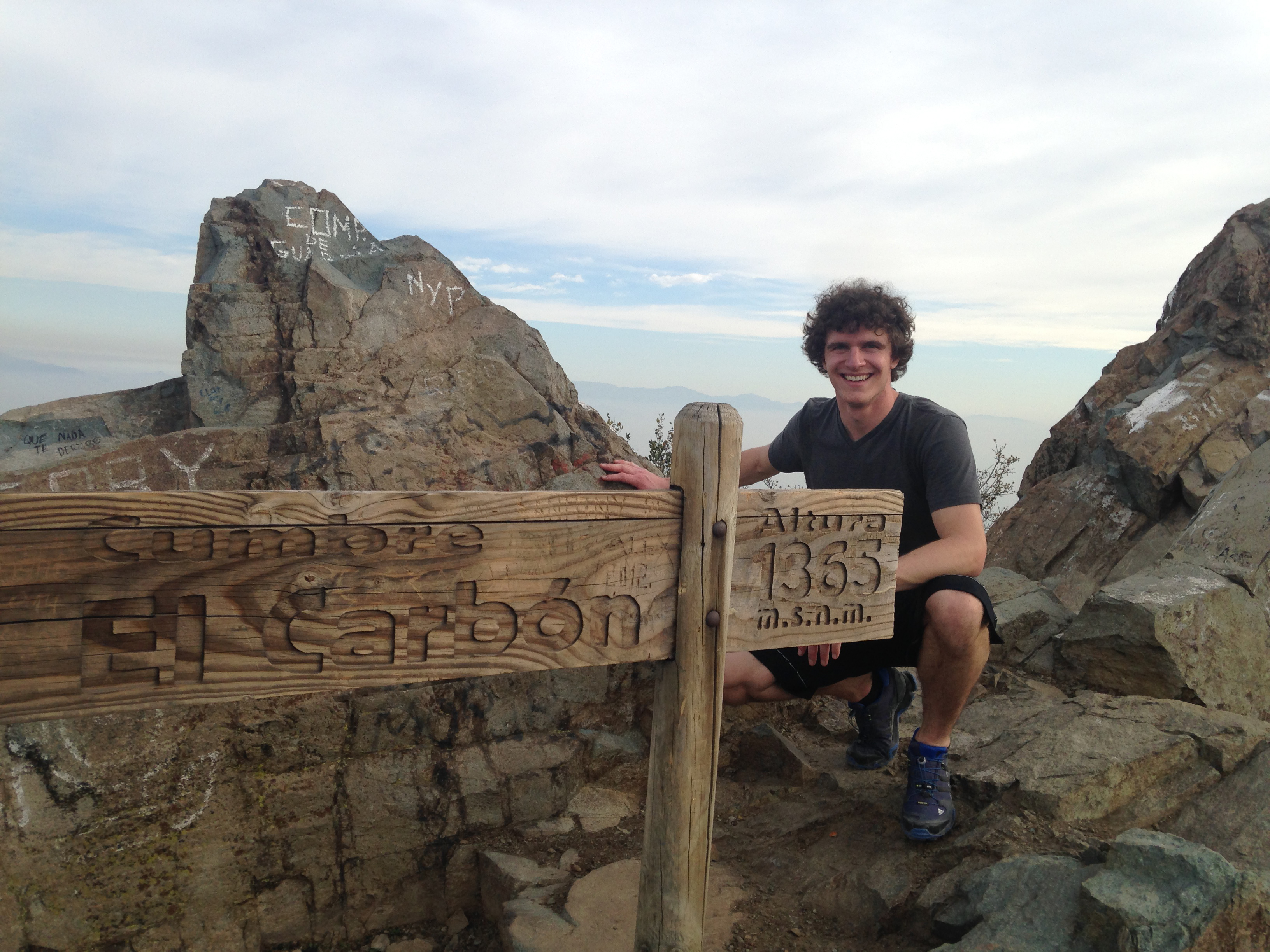 Connor Yocum hiking in the mountains surrounding Santiago.