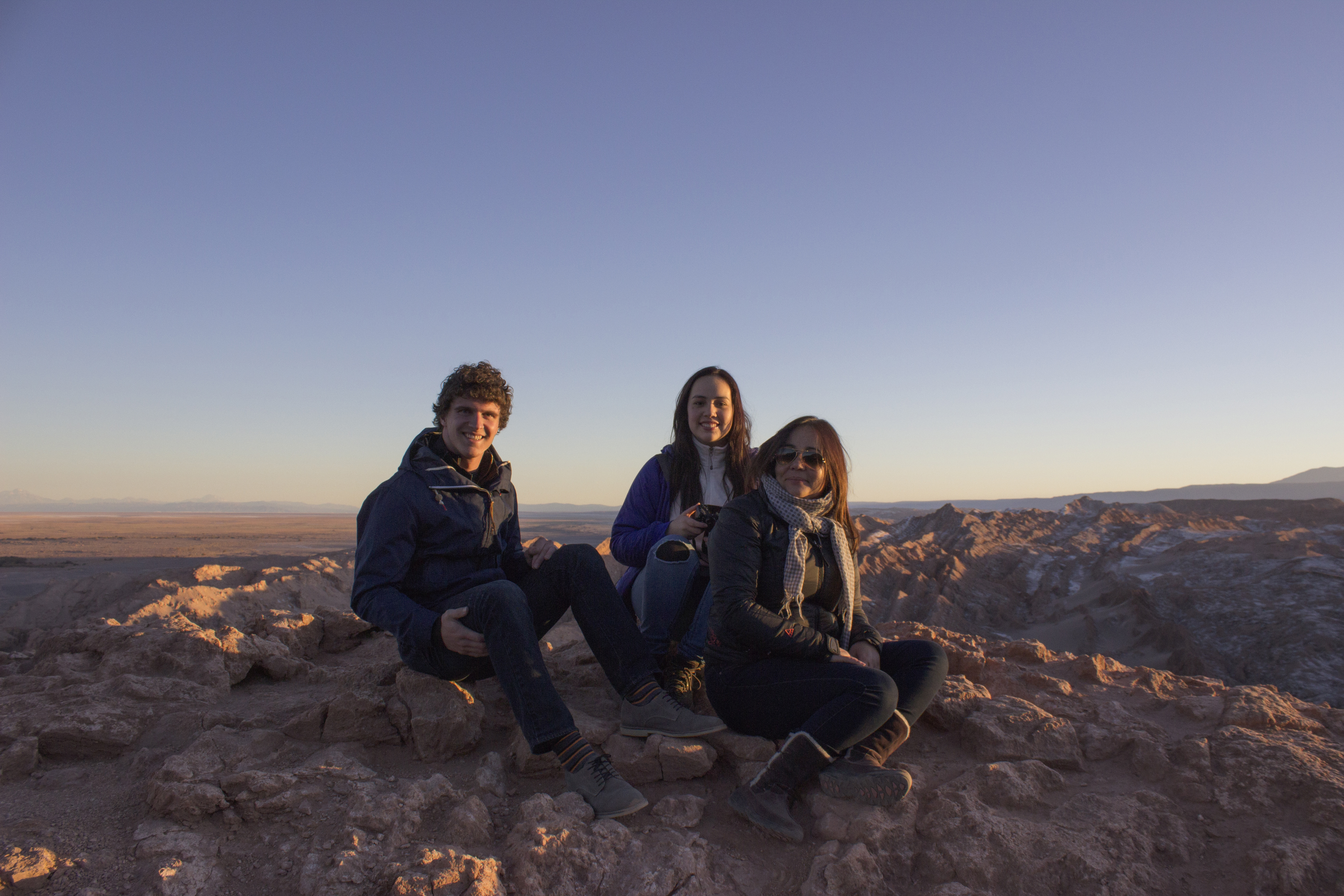Family vacation to the Atacama Desert in northern Chile with host family. From left to right: Connor Yocum, Javiera Olivares, Pamela Mendel.