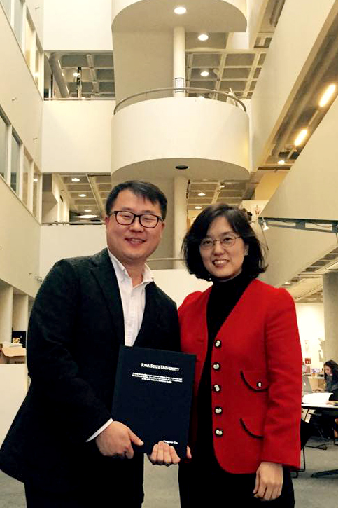 Yongyeon Cho (MFA 2016 Interior Design) and Associate Professor Jihyun Song