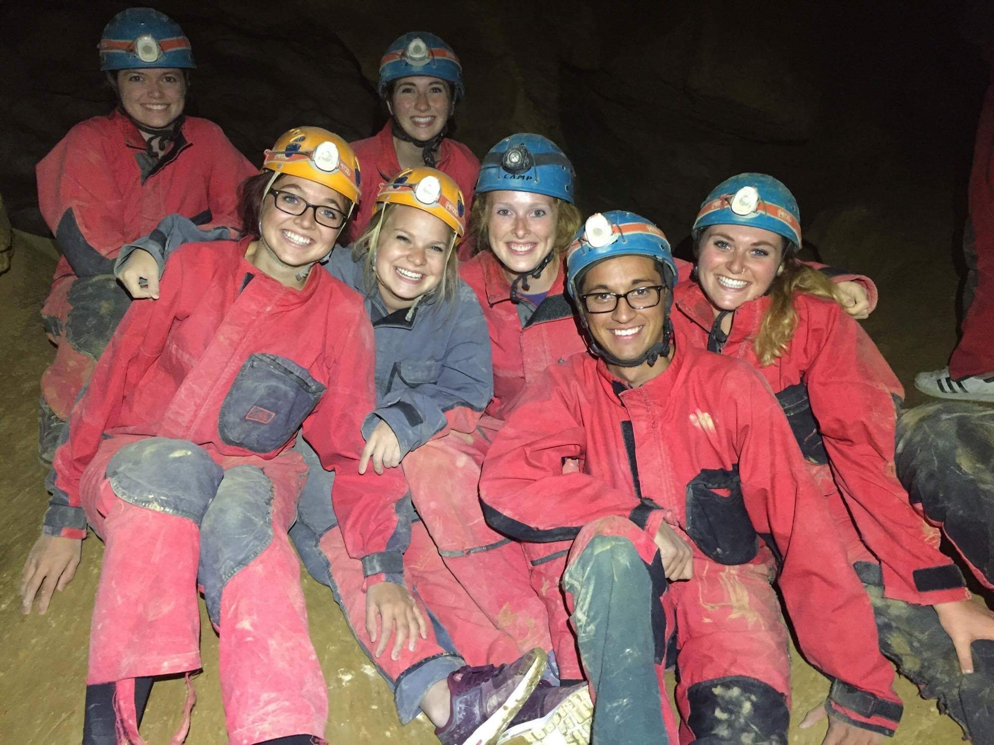 Maddy Baker caving with a group in Budapest