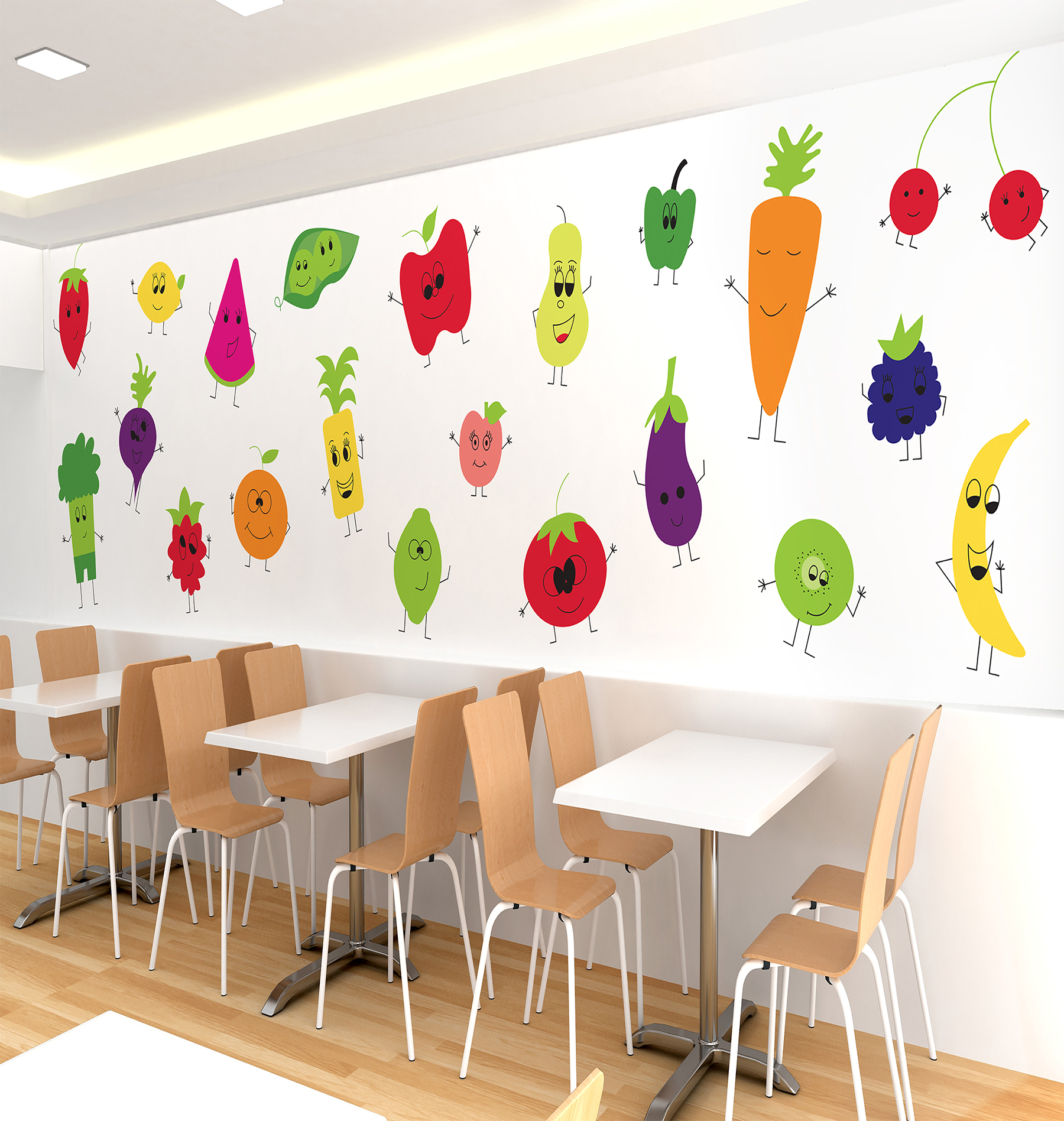 Design for a kid-friendly healthy fast-food restaurant by Kaley Lempke, Livermore, Iowa, a senior in graphic design.