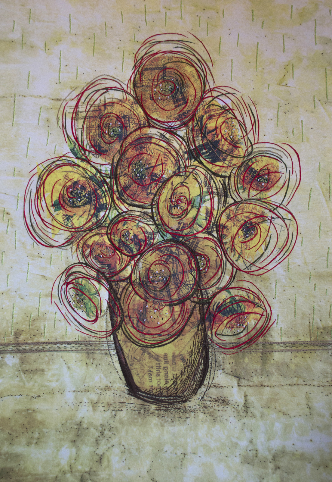 """""""Flowers by Vincent"""" (hand collaged with paper, converted to digital image, manipulated and printed on canvas, with hand embroidery and hand stitching) by Mitzi Alexander, Iowa State University senior in interdisciplinary design"""