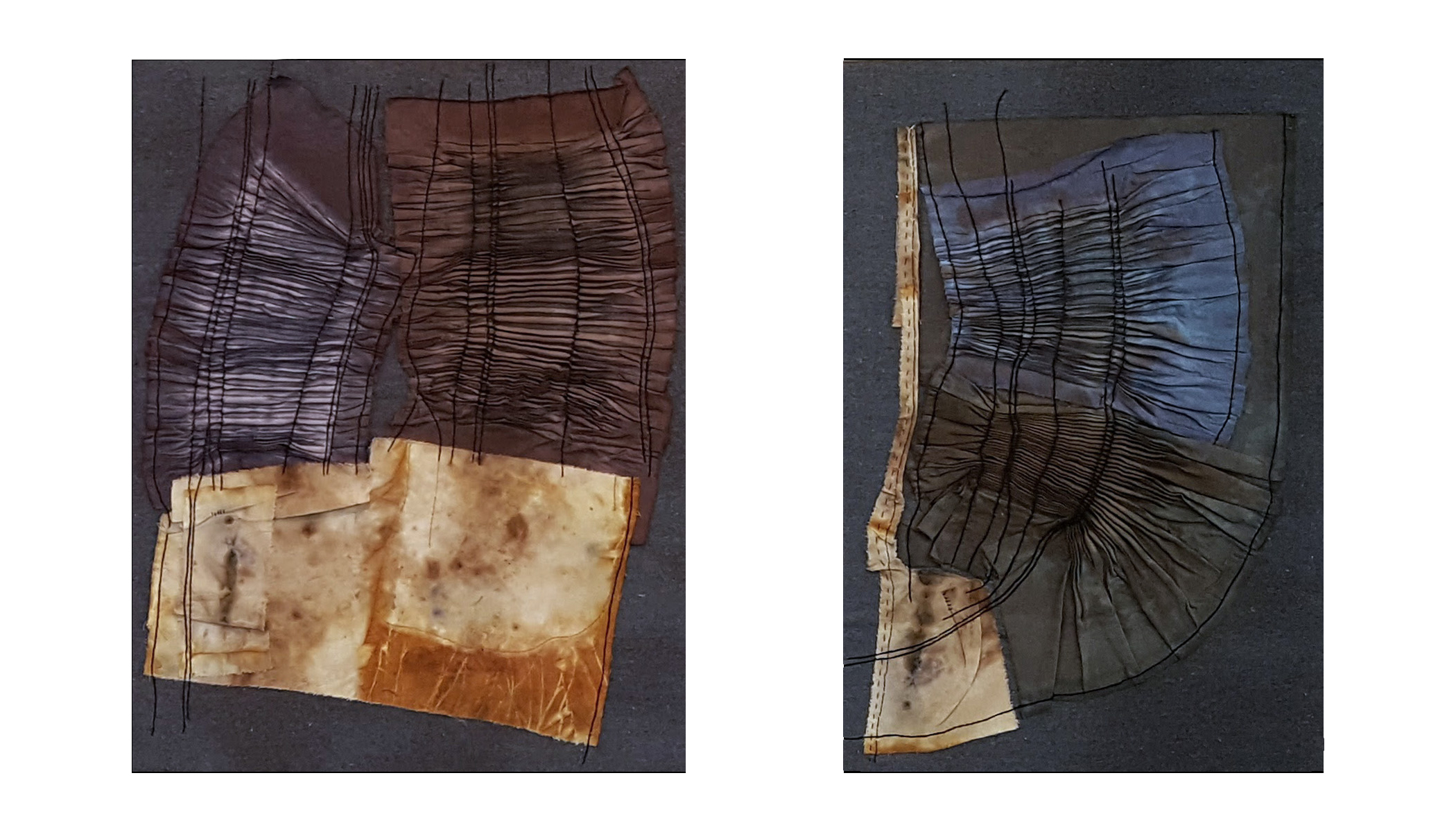 """""""Tomorrow is Never"""" (diptych, cotton, linen, silk, natural dye) by Tina Rice, Iowa State University graduate student in integrated visual arts"""