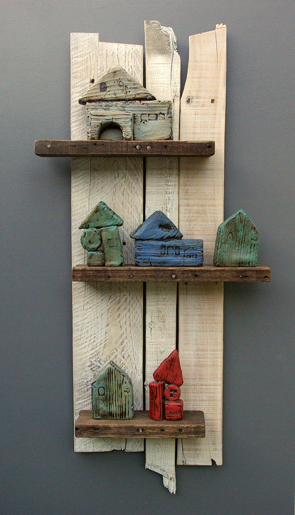 """Kate's Houses"" (mixed clay on reclaimed wood, 37"" x 15"" x 5"", 2016) by Jon Kamrath"