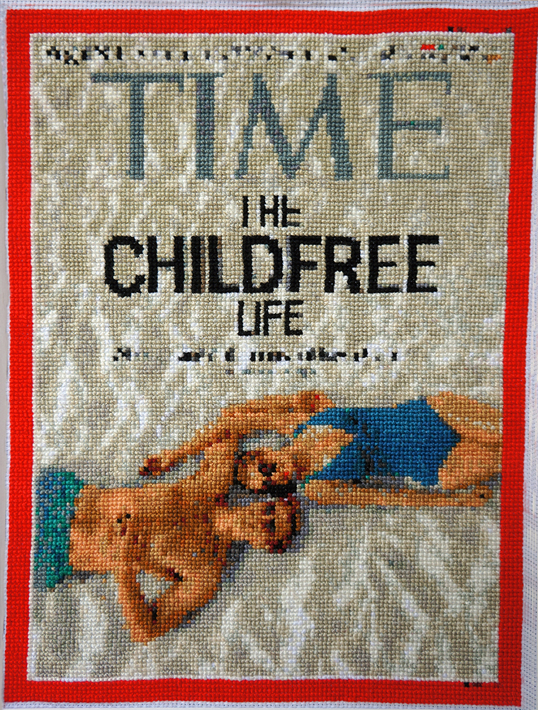 """The Childfree Life,"" TIME magazine cover embroidered by Jennifer Drinkwater"