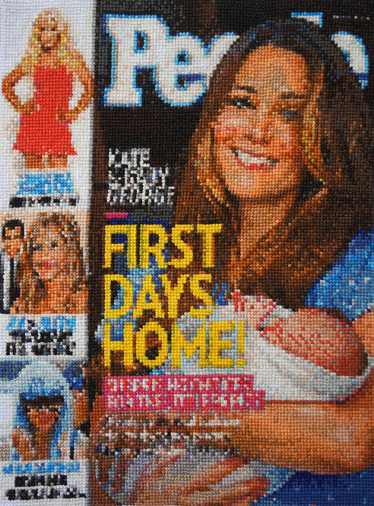"""""""First Days Home,"""" People magazine cover embroidered by Jennifer Drinkwater"""
