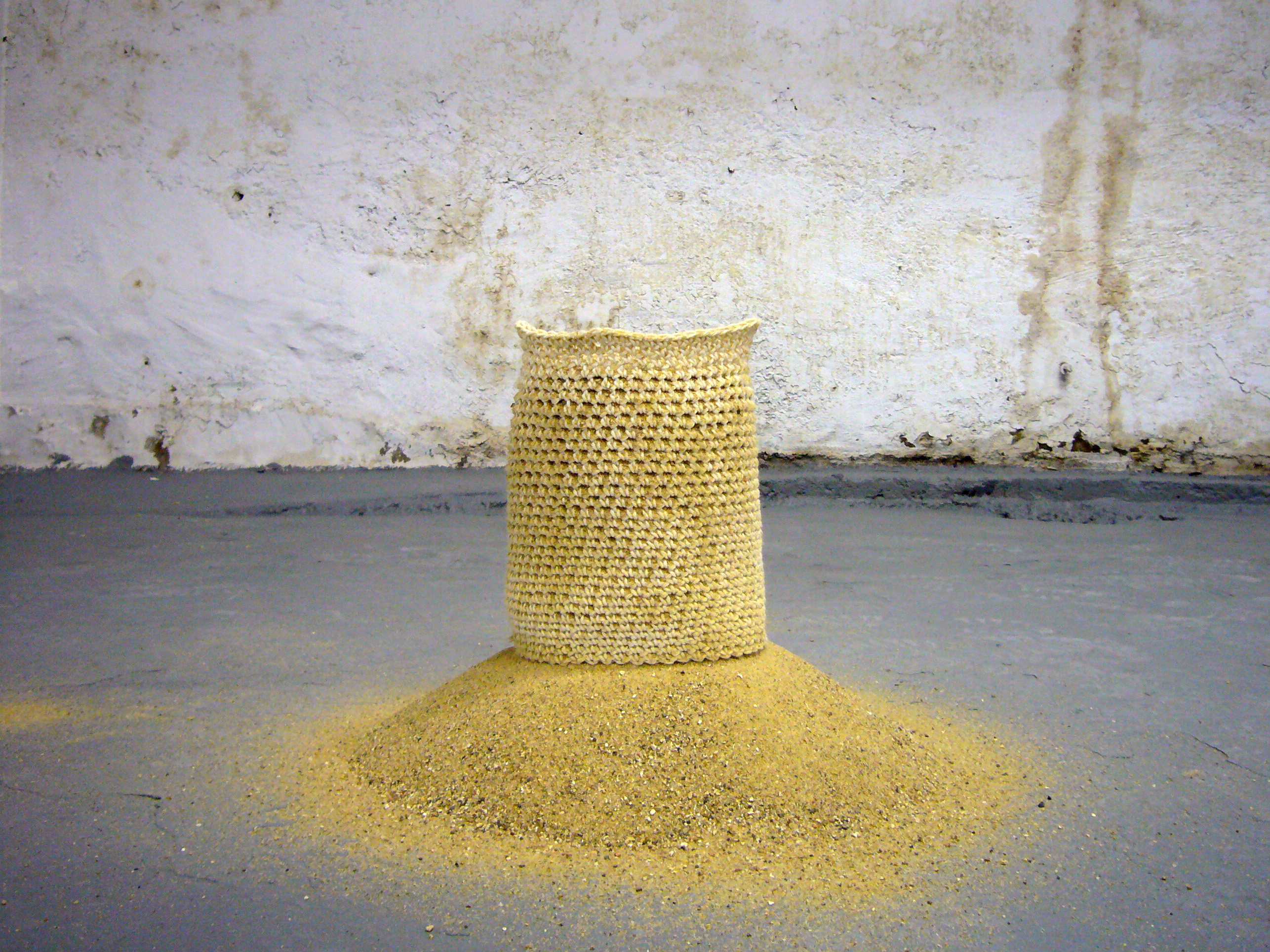 """Hisar Construction"" (cotton twine, sand) by Firat Erdim, Iowa State University assistant professor of architecture"