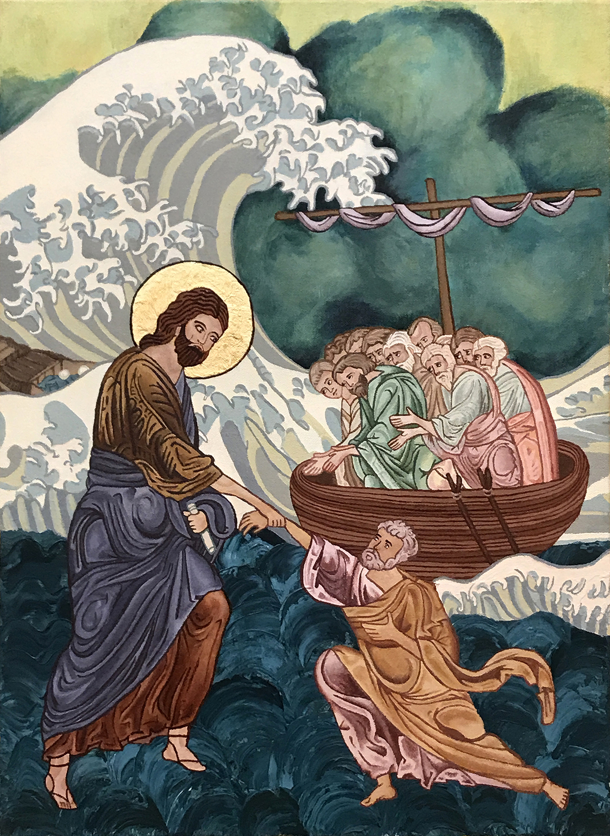 Jesus and Peter on the Great Wave by Sofia Camille Gatapia