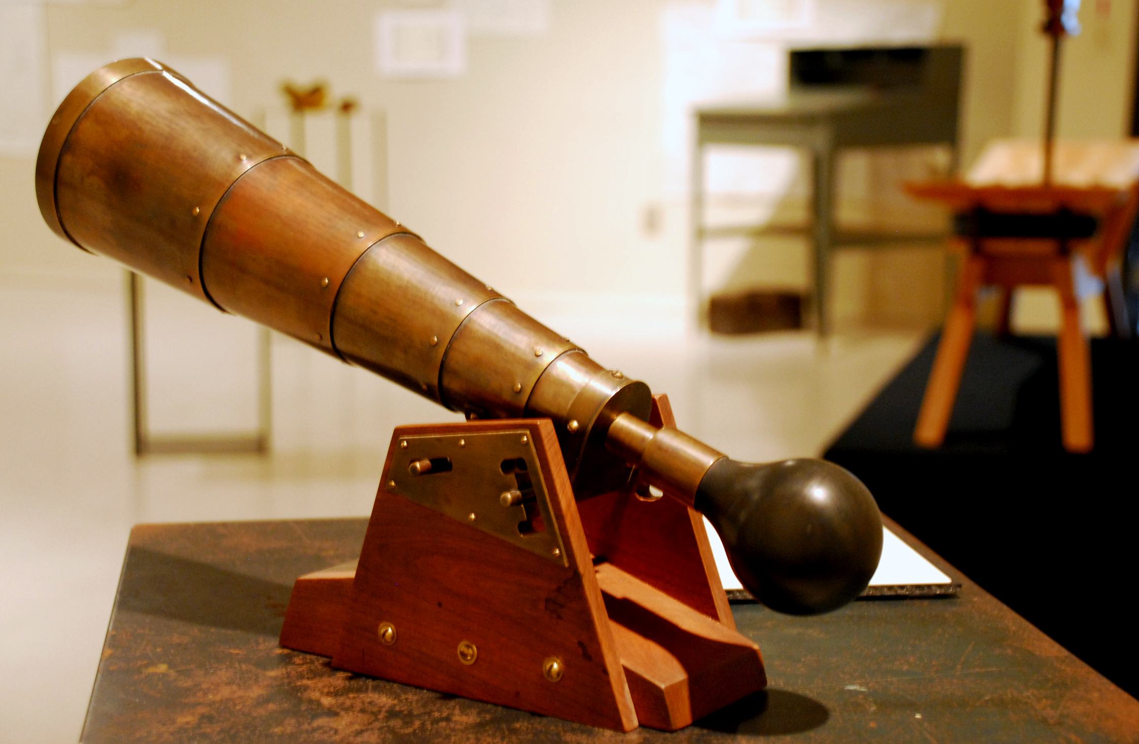 """Signal Horn for an Industrialist"" (brass, cherry, rubber bal) by Matthew Obbink"