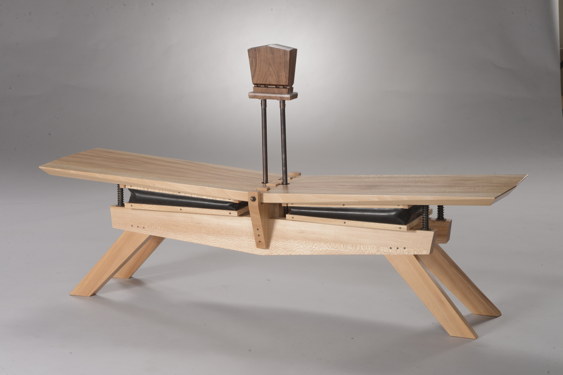 """Sit and Play a Tune"" (quartersawn sycamore, walnut, copper, brass, rubber) by Matthew Obbink"