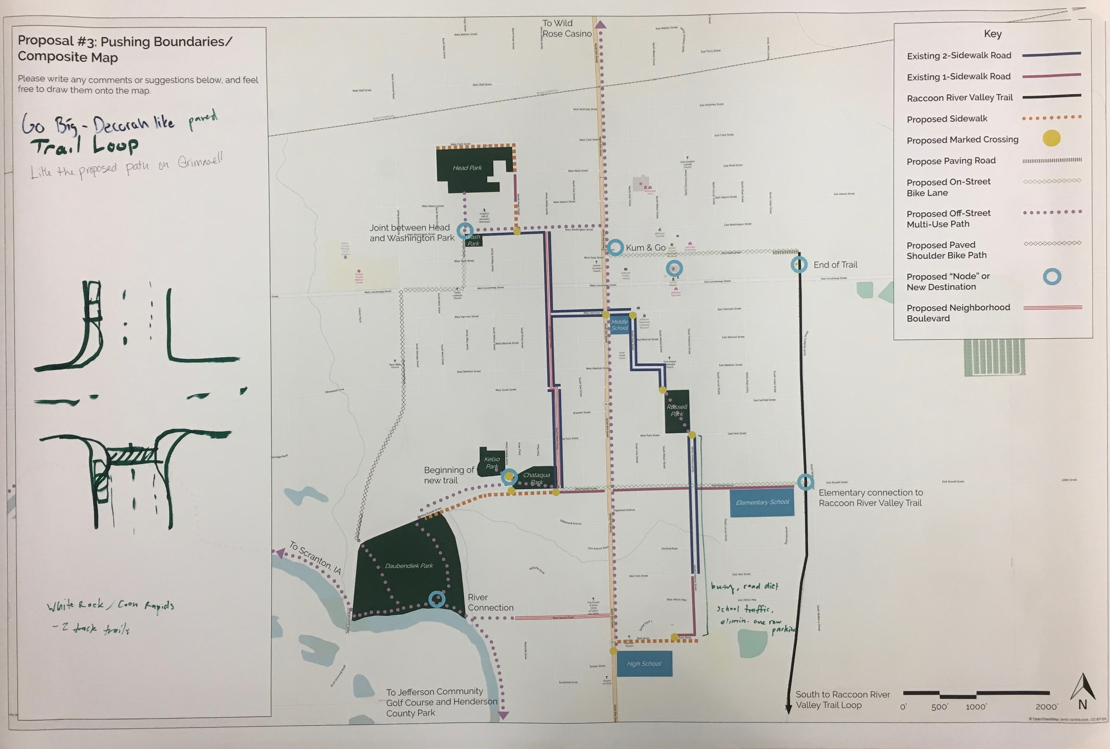 A map of proposed transportation enhancements used to collect community comments.