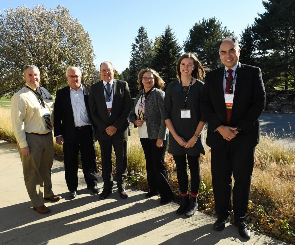 From left, Stuart Anderson, director of the Iowa Department of Transportation's Planning, Programming and Modal Division; Mitch Dillavou, director of the IDOT Highway Division; Mark Masteller, retired chief landscape architect of the IDOT; Julia Badenhope, Iowa State University professor of landscape architecture and founder of the Iowa's Living Roadways Community Visioning Program; inaugural Mark Masteller Intern Zoey Mauck; ISU College of Design Dean Luis Rico-Gutierrez