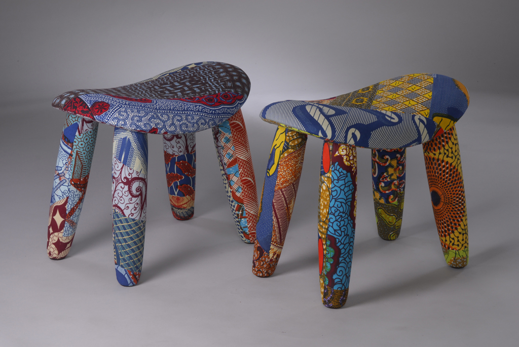 Upholstered stools by Chris Martin