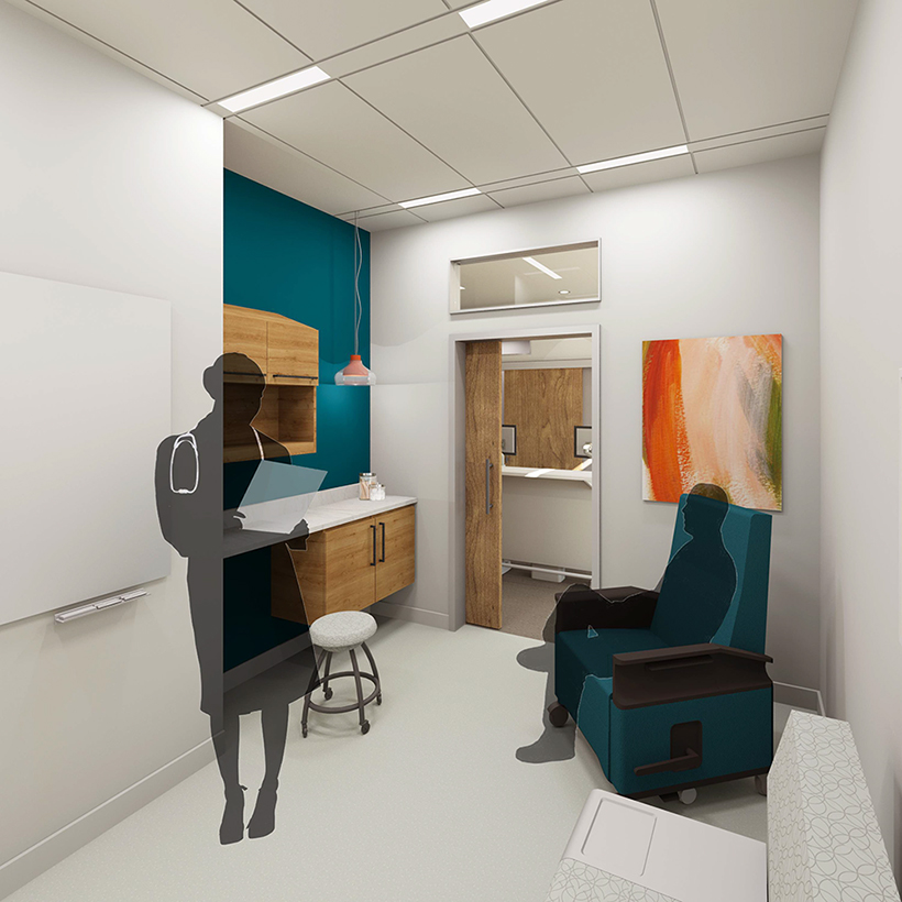 Exam room rendering by Hannah Hughes