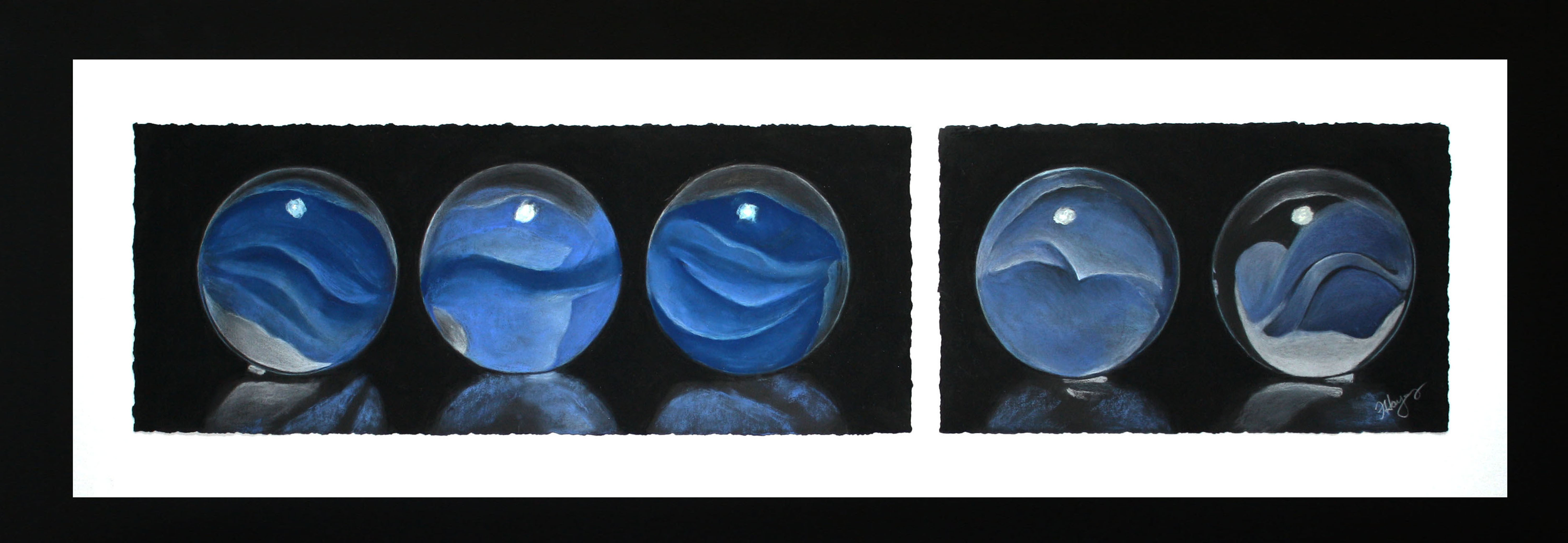 Blue Marbles by Flo Hayes
