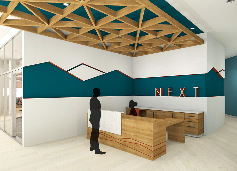 Reception area rendering by Hannah Hughes