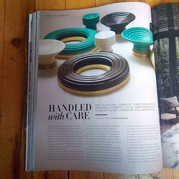 """Handled with Care"" feature on Jonathan Castro Designs and Nest Studio collaboration in Luxe Interiors + Design Magazine"