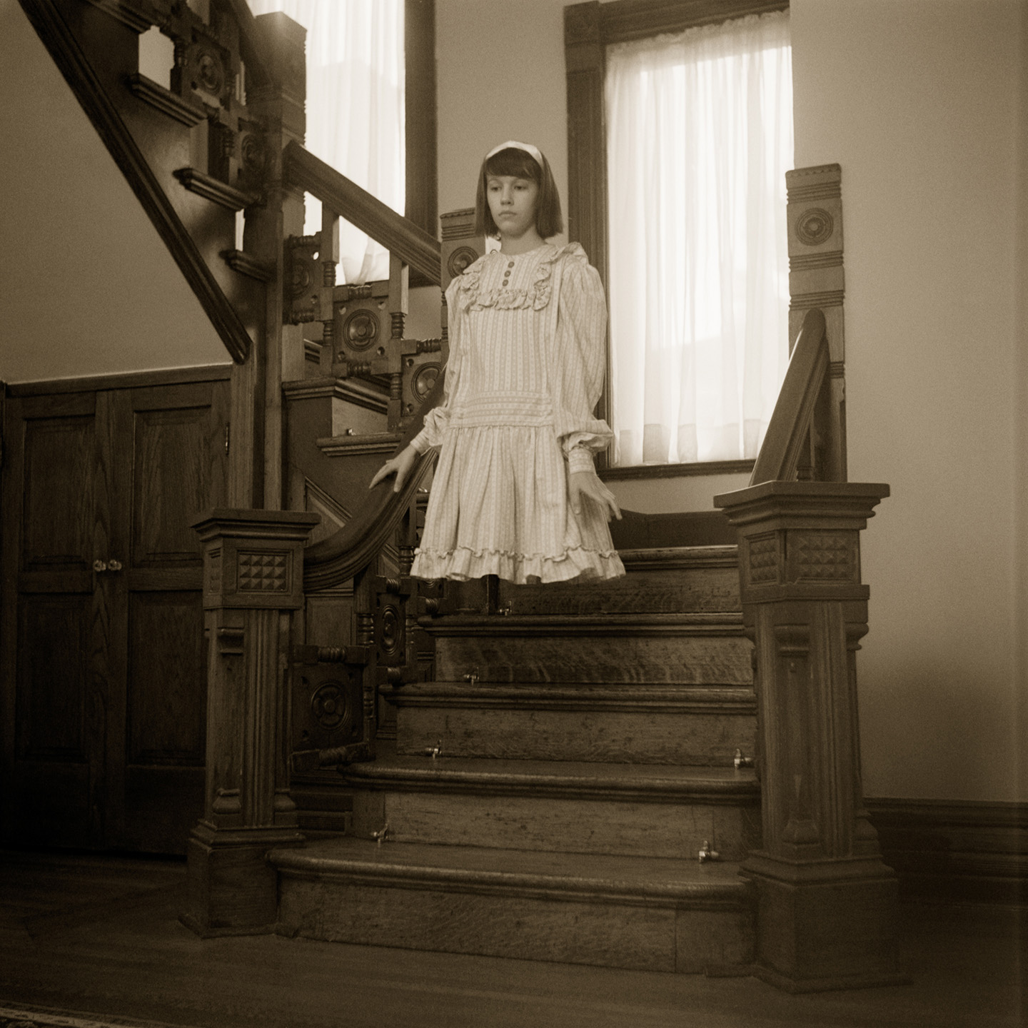 """Frances Descending the Front Stairs"" (from ""A Case of Levitation: The Story of Frances Naylor"") by Christopher Schneberger"