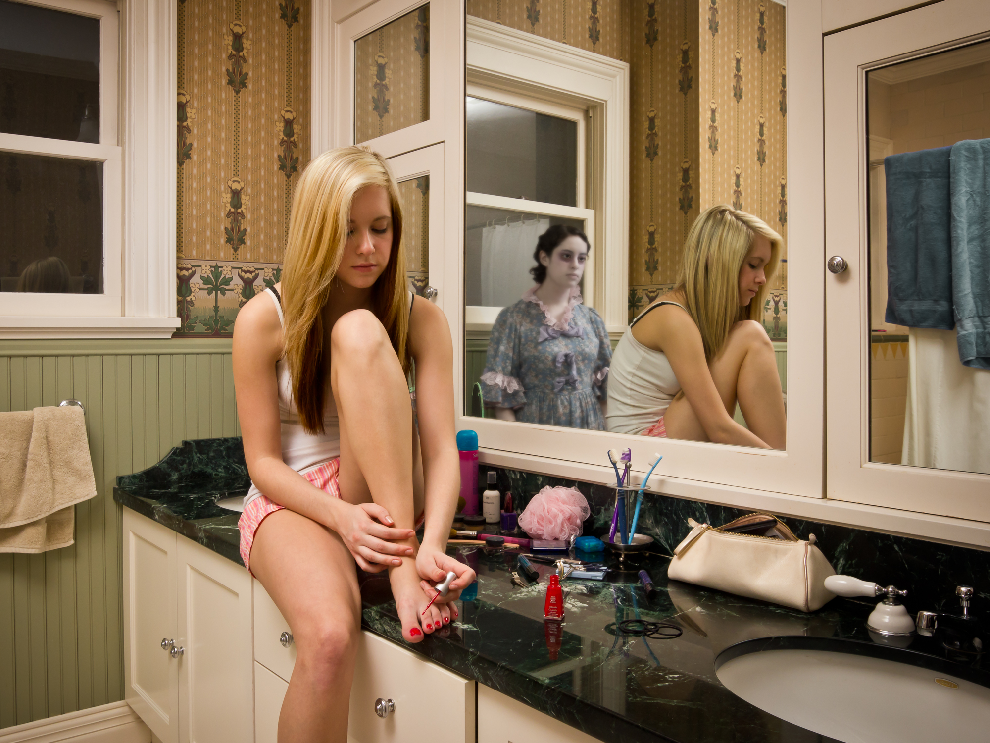 """Ashley in her Bathroom"" (from ""Glimmer: The Haunting of Graham House"") by Christopher Schneberger"