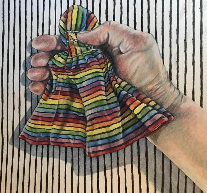 Empty Dresses (colored pencil and ink, 2000) by Paula Streeter