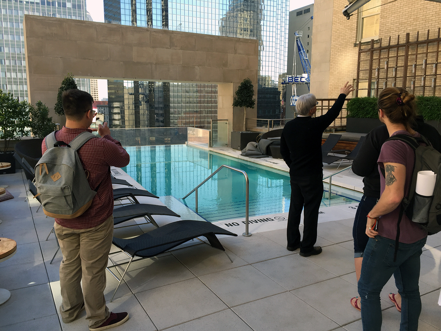 Students visit a historic hotel rehabilitation project on a class trip to Dallas, Texas
