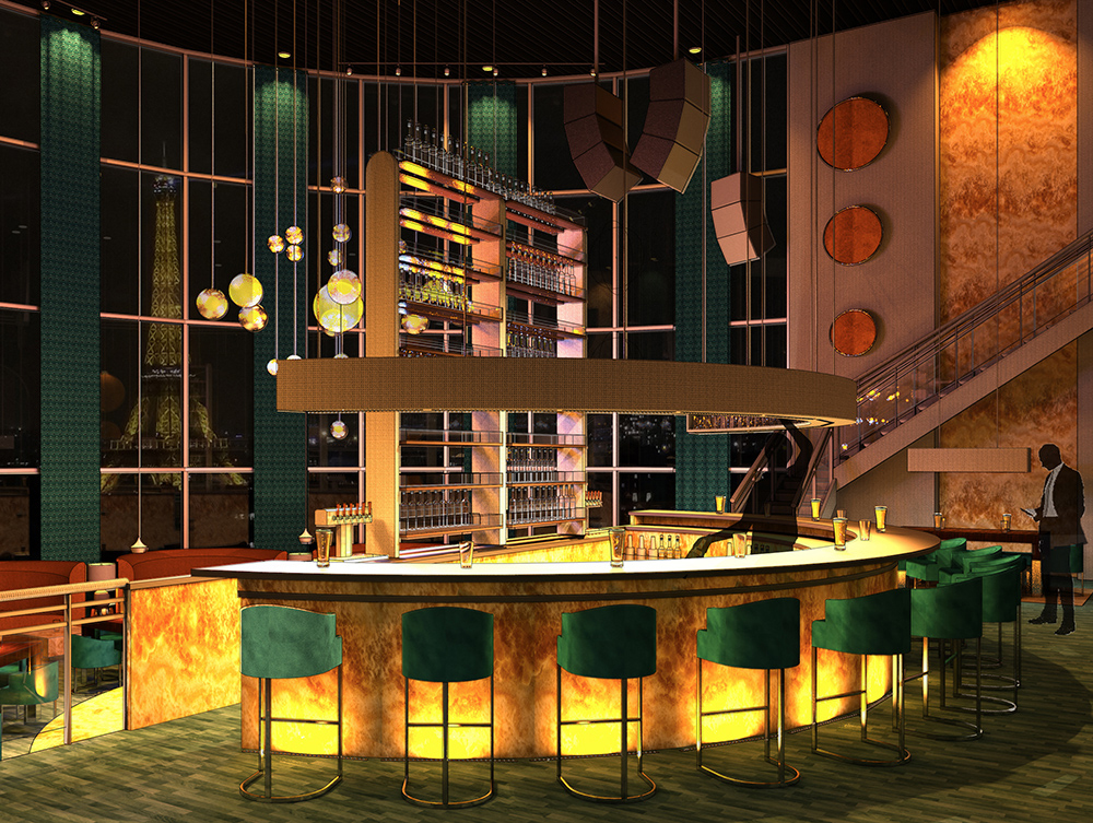 Palais des Cristaux Main Bar by Michael Schell