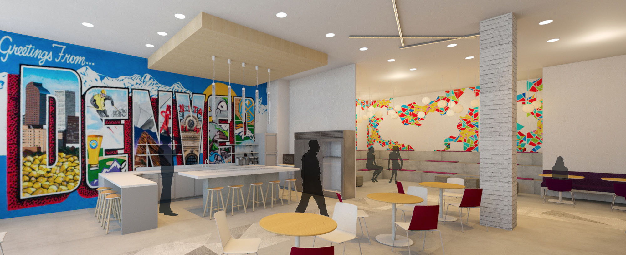 The cafe and other common areas incorporate local art to enhance productivity and help people feel proud of where they're from.