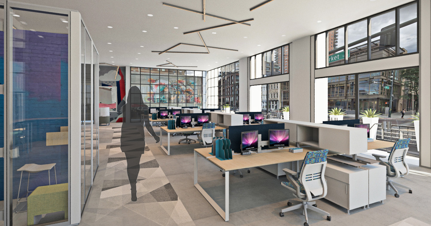 An open office space encourages creativity, innovation and community by offering opportunities to interact and collaborate in a comfortable setting.