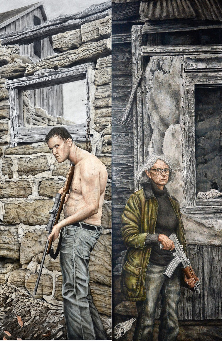 """Portrait of the Artist and His Mother"" (Diptych, graphite and acrylic mixed media on panel, each panel 72x24 inches) by Robert Jinkins"