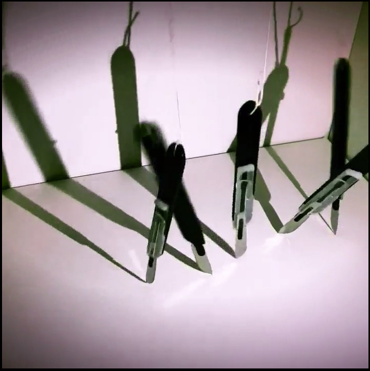 """Untitled"" (scalpels, suture, motors, microcomputer, 2018) by Judy K. Long"