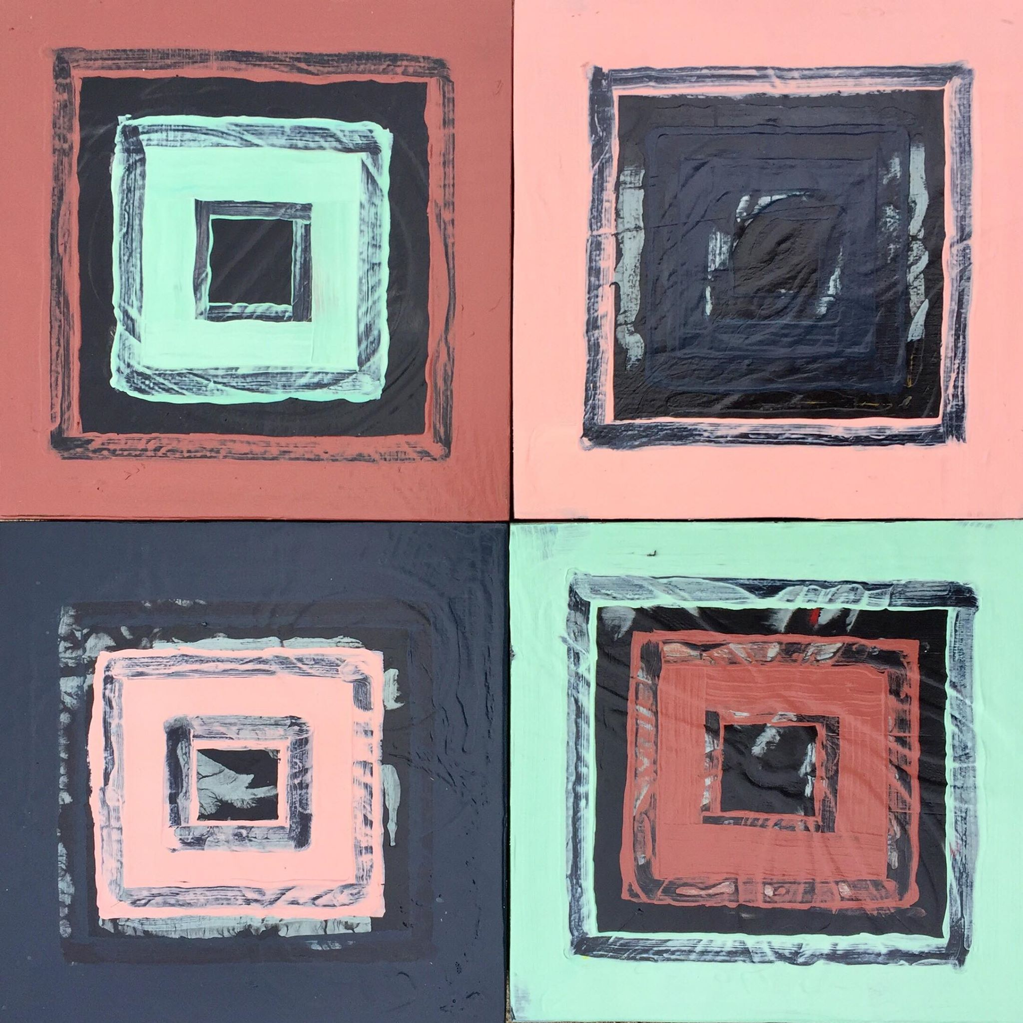 """Untitled"" (acrylic on panel, four 8"" x 8"" squares) by Mason Howerzyl"