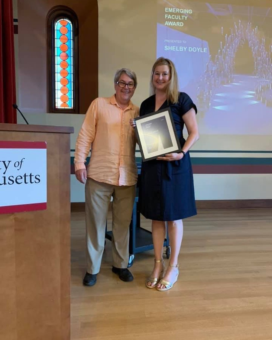 2019 BTES Emerging Faculty Award recipient Shelby Doyle with former BTES board member Patrick Tripeny from the Univesit of Utah (photo by Terry Boake)