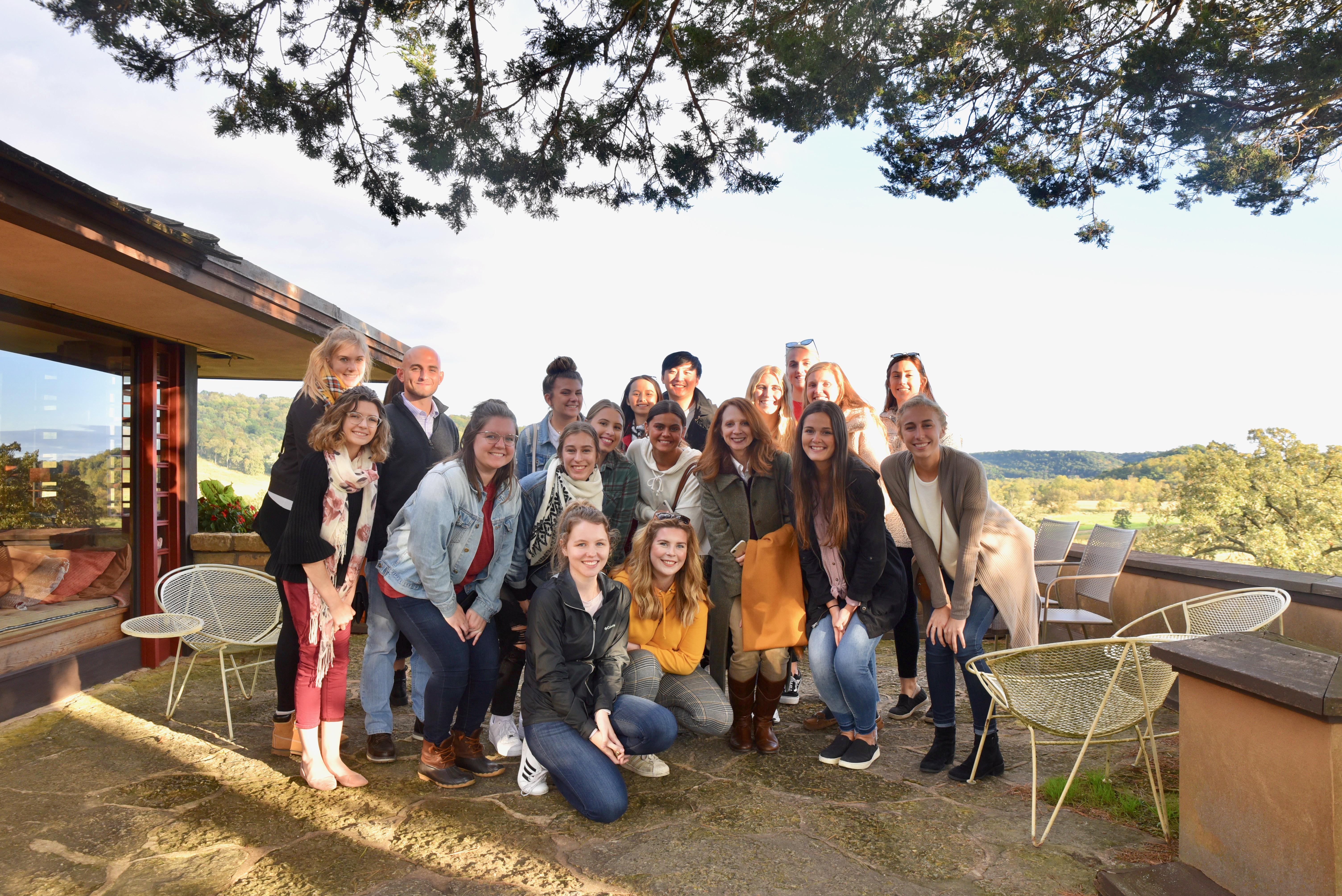 ARTID 569D: Preservation students on the private terrace off of Frank Lloyd Wright's master bedroom at Taliesen near Spring Green, Wisconsin