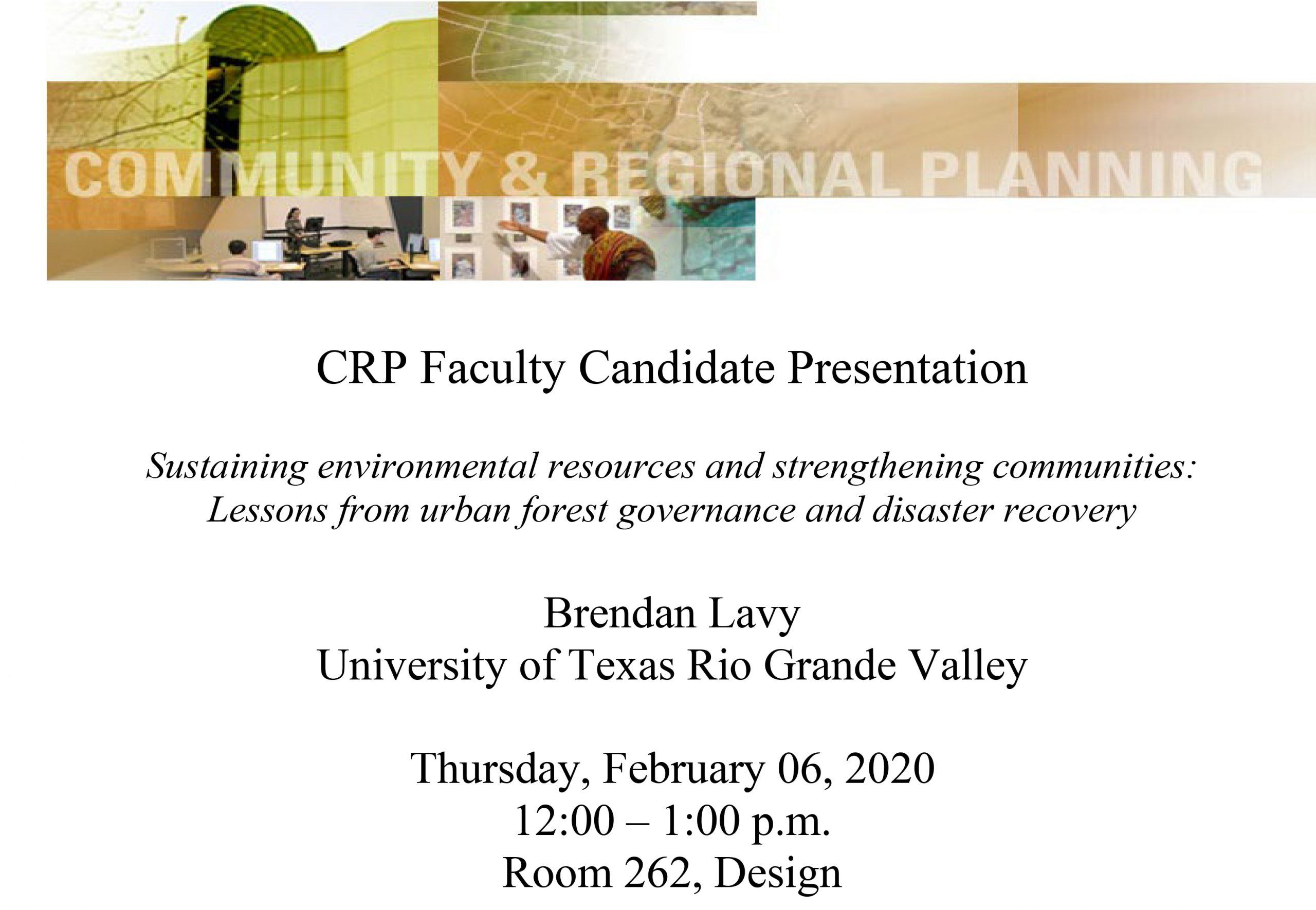 CRP Faculty Candidate Presentation: Brendan Lavy