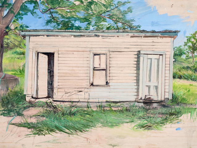 """Washhouse, plein air"" (oil on paper on wood, 2016) by Melanie Vote"