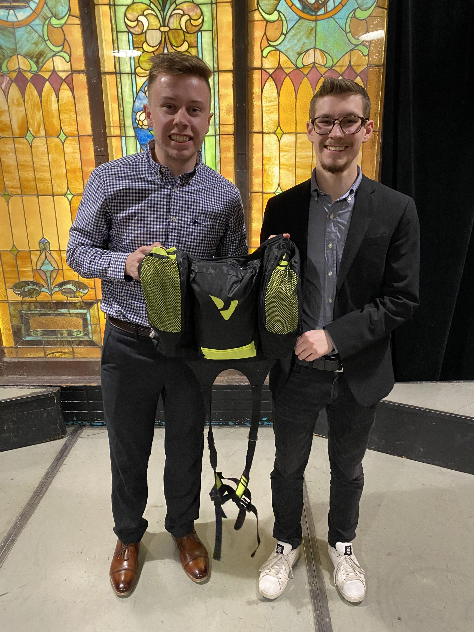Ben Grote and Anthony Ward with their Viper Gym Bag prototype