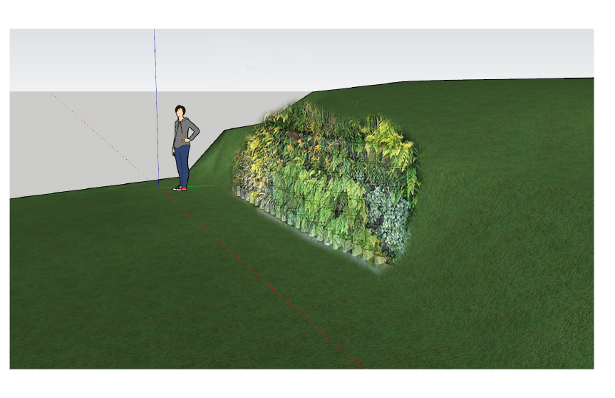 """Recycled Green Wall"" rendering by Jeff Hyler"