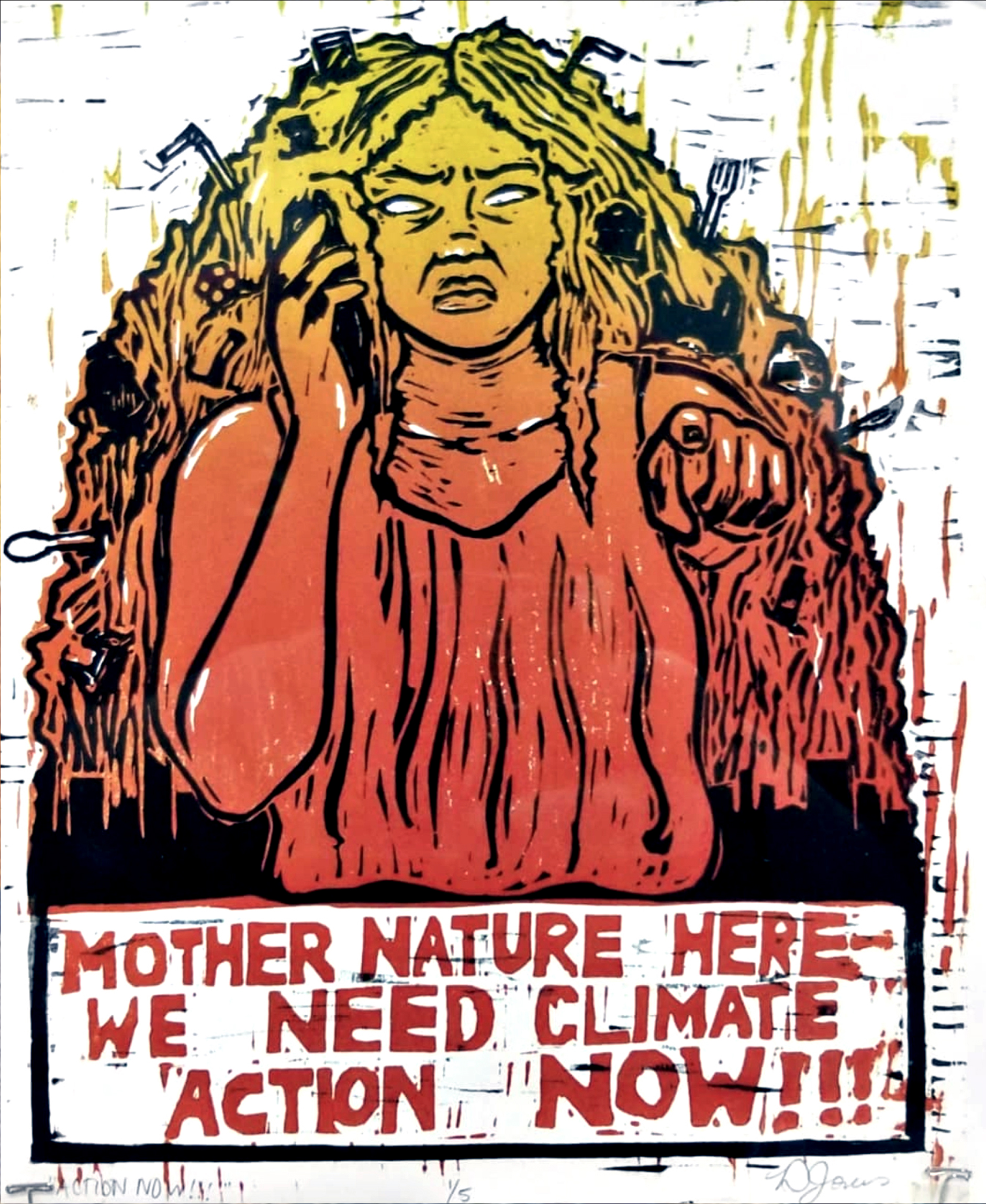 """Climate Action Now!!"" (woodblock print, 2020) by DJ Jones"