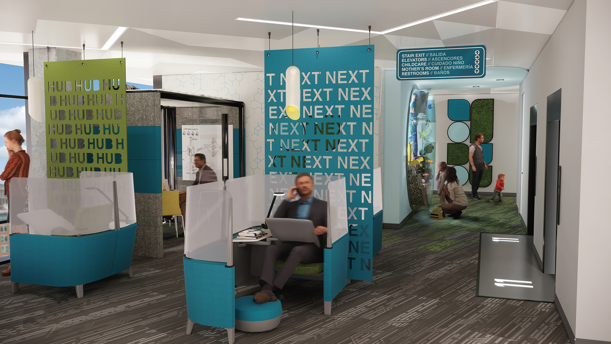 NEXT HUB Education Foyer rendering by Samantha Kragel